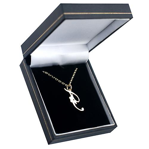 9ct Gold 28x11mm plain Initial F Pendant with a belcher Chain 16 inches Only Suitable for Children
