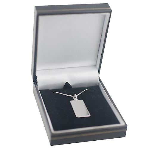 9ct White Gold 26x13mm Plain rectangular Disc with a Curb Chain