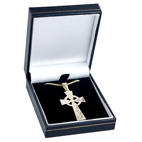 9ct Gold 44x26mm hand engraved Celtic Cross with bail on a curb Chain 16 inches Only Suitable for Children