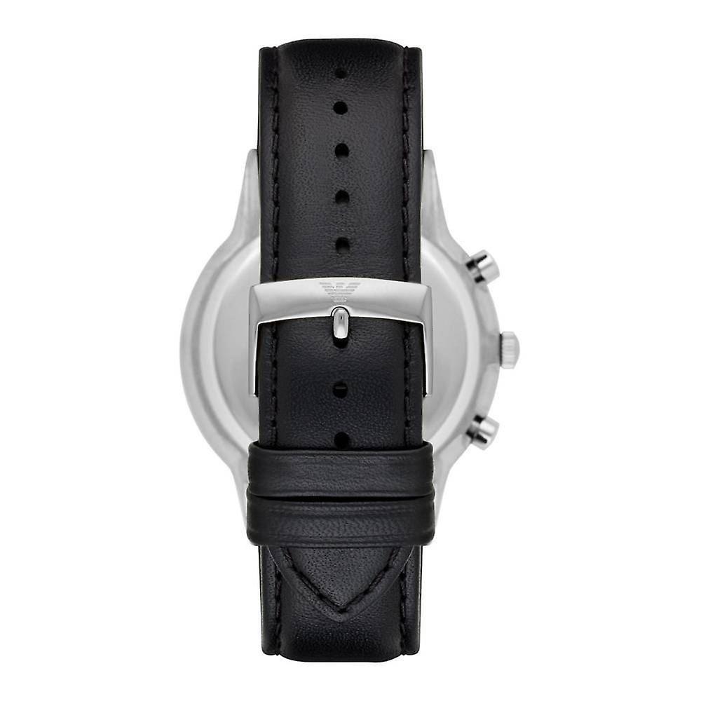 2a8e34b22f5f Emporio Armani hombre caballeros reloj correa de cuero negro esfera negra  AR8034