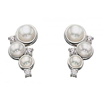 Elements Silver Pearl and Cubic Zirconia Drop Earrings - Silver/White