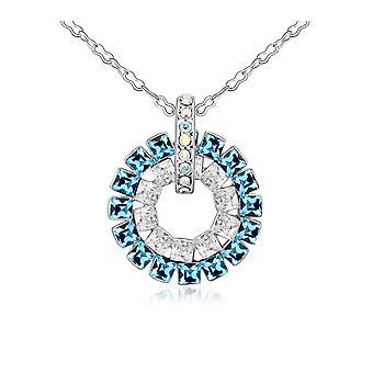 Elementy niebieska wisząca koło kryształ Swarovski i białego złota płyta