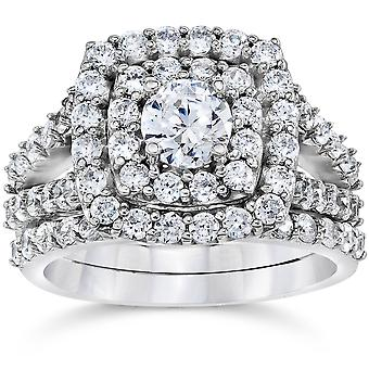 2 cttw Diamond Cushion Double Halo Engagement Wedding Ring Set 10k White Gold