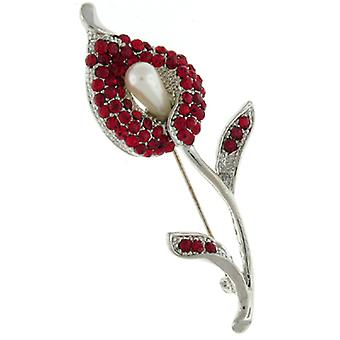 Brooches Store Red Crystal and Pearl Tulip Calla Lily Brooch