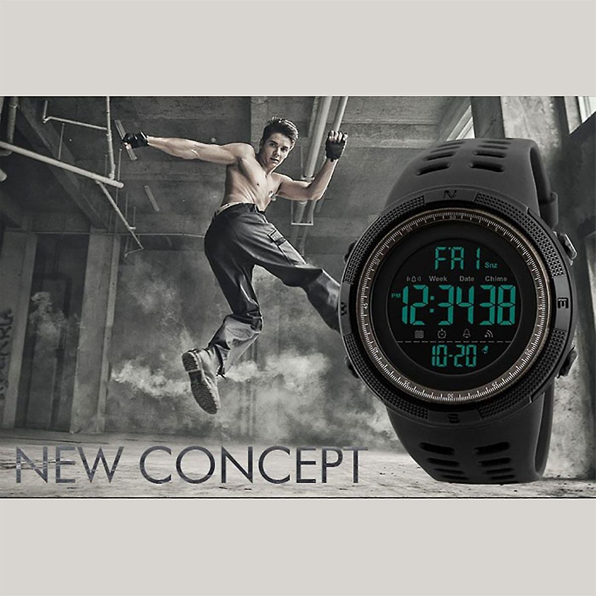 SKMEI Mens Large Display Digital Watch Resin Strap Stopwatch Alarm DG1251