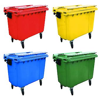 Charles Bentley 660 litri coperchio piatto Wheelie Bin
