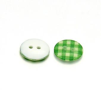 10 x Green/White Resin 13mm Round 2-Holed Patterned Sew On Buttons HA14600