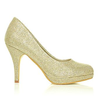 CHIP Gold Mesh Glitter Pumps Mid-High Heel Low Platform Court Shoes