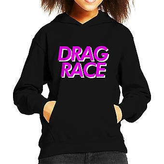 Drag Race Pink Font Kid's Hooded Sweatshirt