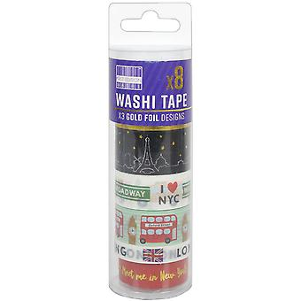 First Edition Washi Tape 10M Rolls 8/Pkg-Big Cities