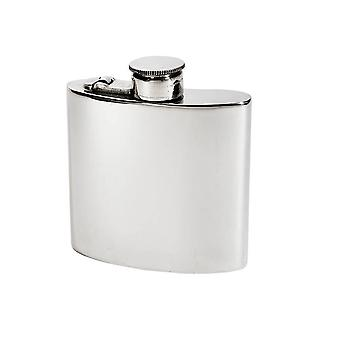 4Oz Plain Pewter Kidney Hip Flask With Captive Top