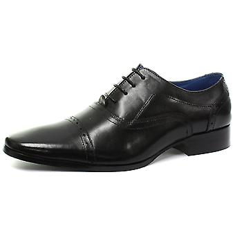 Roamers 5 Eyelet Punched Cap Black Mens Oxford Lace Up Shoes