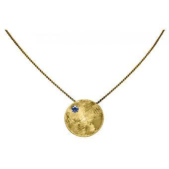 Gemshine - Damen - Halskette - Anhänger - 925 Silber - Vergoldet - Schale -  Geometrisch - Design - Iolit - Blau - 45 cm