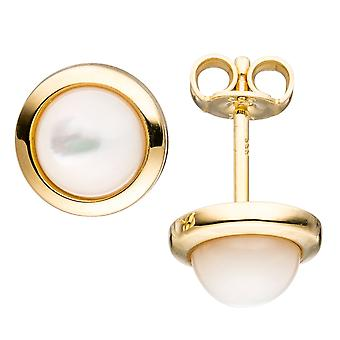 Earrings approximately 333 Gold Yellow Gold 2 mother of Pearl stones earrings gold earrings