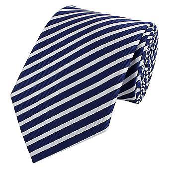 Schlips Krawatte Krawatten Binder 8cm dunkelblau weiß gestreift Fabio Farini