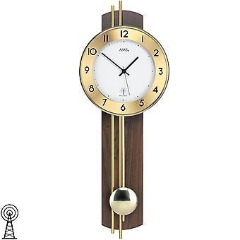 Wall clock with pendulum radio wood rear wall Walnut veneered brass bars