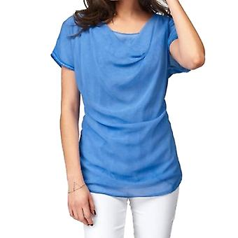 vivance collection ladies blouses shirt blue waterfall effect