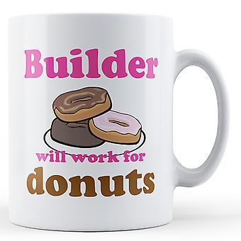 Builder arbete för munkar - tryckt mugg