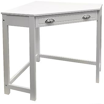 Haven - Compact Wooden Corner Computer Desk / Dressing Table / Craft Workstation - White