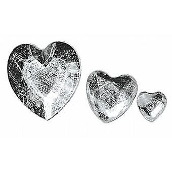 Assorted Silver Heart Shaped Acrylic Rhinestones for Crafts - 310pk