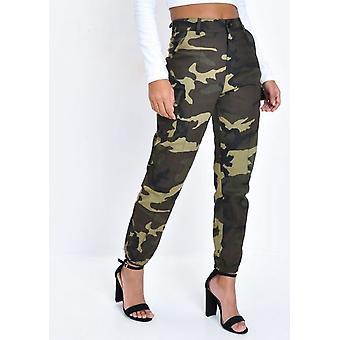 Alta carga de utilidad de cintura Pantalones Camo verde