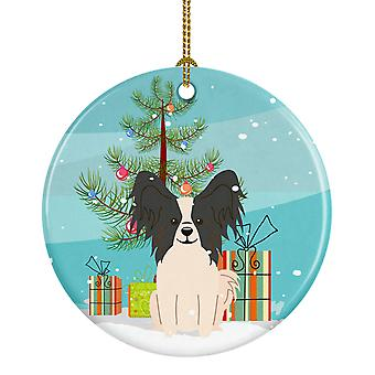 Merry Christmas Tree Papillon Black White Ceramic Ornament
