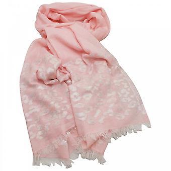 オンブル ピンク チーター柄の長い編まれたスカーフ