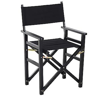 HOMCOM Beech Wooden Folding Directors Chair Space Saving Oxford Fabric Seat Black