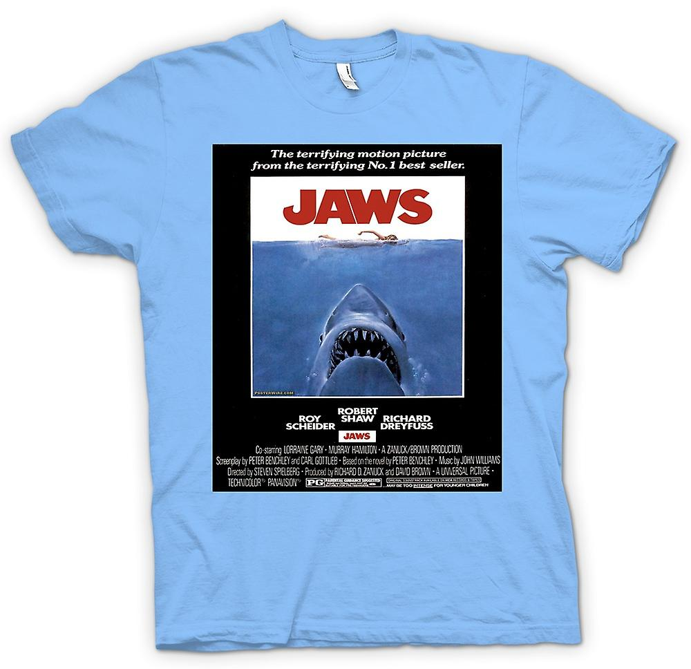 Mens T-shirt - Jaws - Horror - Shark - B Movie - Poster
