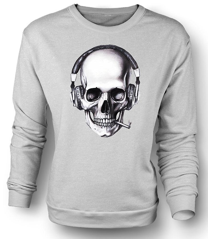 Mens Sweatshirt Skull DJ Headphones