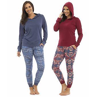 2 Pack Damen Foxbury bedruckt Hosen & Kapuzen Top Jersey Schlafanzug Nachtwäsche