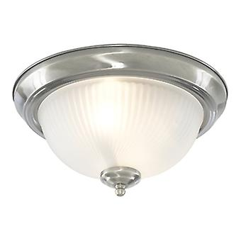 4042 2 Light Satin Silver Flush Light With Ribbed Glass