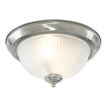 Searchlight 4042 2 Light Satin Silver Flush Light With Ribbed Glass