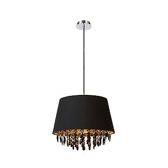 Lucide Dolti 45cm Black And Gold Fabric Shade Crystal Drum