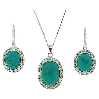 TOC Sterling Silver Blue/Green & Clear Rhinestone Earring & Pendant Necklace 18