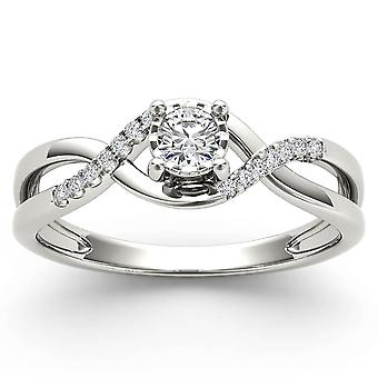 IGI Certified 10k White Gold 0.05 Ct Diamond Criss-Cross Fashion Engagement Ring