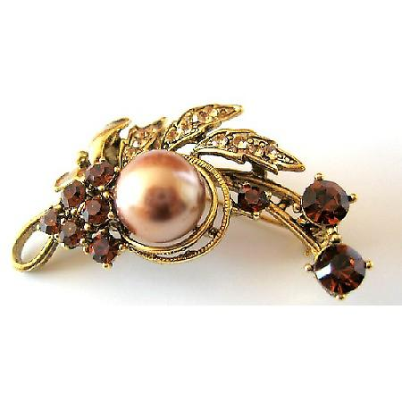 Bridesmaid Bridal Bronze Pearls with Smoked Topaz Crystals Brooch