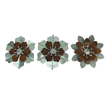 Rustic Galvanized Metal Tropical Flowers 3 Piece Wall Sculpture Set