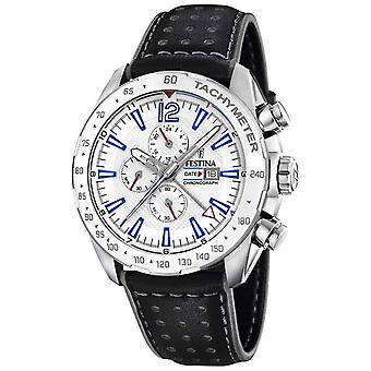 Festina | Mens Chronograph & Dual Time | Silver Dial | Leather Strap F20440/1 Watch