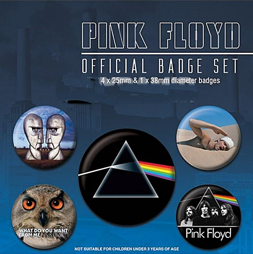 Pink Floyd 5 round Pin Badges in Pack (py)