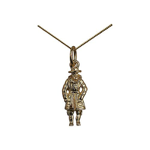 9ct Gold 18x8mm Beefeater Pendant with a curb Chain 16 inches Only Suitable for Children