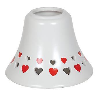 Aroma ausgeschnitten Herz Glas Lampenschirm, rot