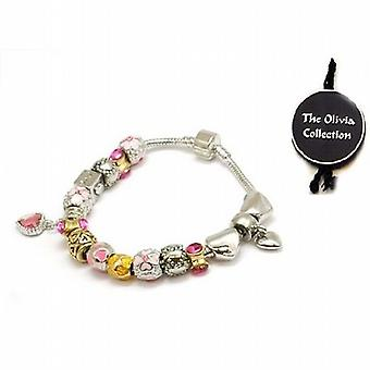 TOC Beadz Pink & guld hjerte charme perle armbånd