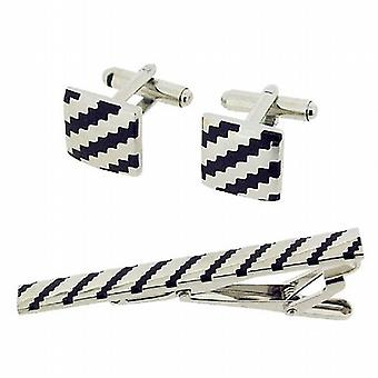 Equilibrium Gents Silvertone Metal Black Cufflinks Tie Clip Gift Set In Gift Box