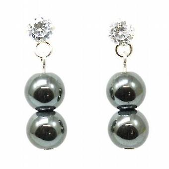 Toc Sterling Silver Haematite Hanging Ball Earrings with Clear Cz