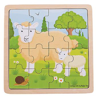 Bigjigs Toys Chunky Wooden Sheep & Lamb Educational Jigsaw Puzzle
