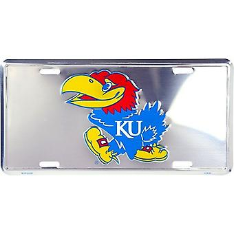 Kansas Jayhawks NCAA Silver Mirror License Plate