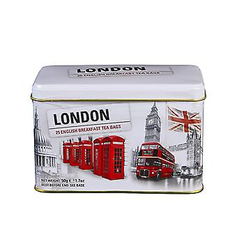 Black and white iconic london scenes english breakfast tea tin 25 teabags
