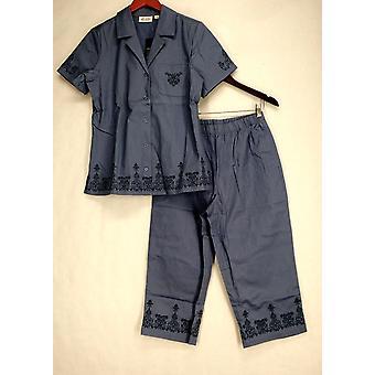 Denim & Co. Embroidered Stretch Twill Shirt & Capri Pants Blue Set A80478