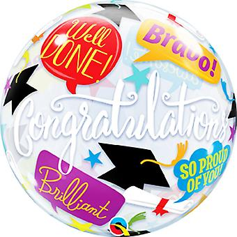 Qualatex 22in Happy Graduation Accolades Single Bubble Balloon